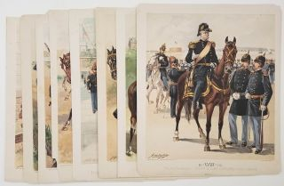 EIGHT CHROMOLITHOGRAPHS from Uniform of the Army of the United States] Army Uniforms 1802-1888....