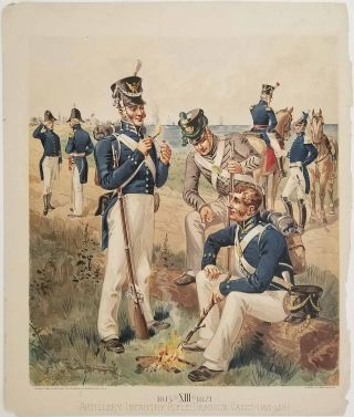 [EIGHT CHROMOLITHOGRAPHS from Uniform of the Army of the United States] Army Uniforms 1802-1888.