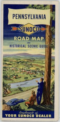 Sunoco Historical-Pictorial Map of Pennsylvania. (Cover title: Pennsylvania. Sunoco Road Map and Historical Scenic Guide. Compliments of your Sunoco Dealer).