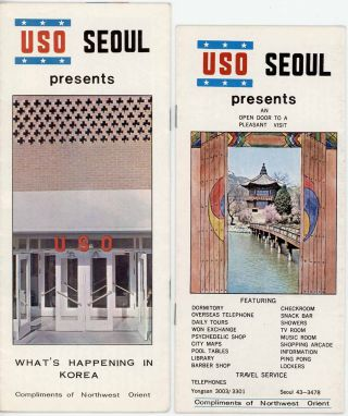 Korea - Freedom's Frontier. [together with two pamphlets: USO Seoul presents What's Happening in Korea / USO Seoul present An Open Door to a Pleasant Visit].