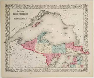 Colton's Lake Superior and the Northern Part of Michigan. MICHIGAN - LAKE SUPERIOR MAP