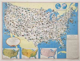 A Pictorial Map of the United States of America Showing Principal Regional Resources, Products,...