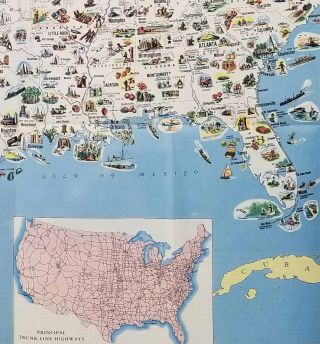 A Pictorial Map of the United States of America Showing Principal Regional Resources, Products, and Natural Features. (Cover title: Pictorial Map of the United States with Trip-Planning Guide).