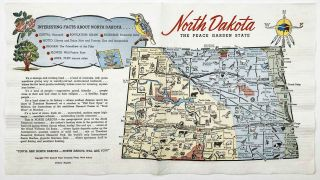 North Dakota The Peace Garden State - set of NINE vintage color pictorial paper napkins. NORTH...