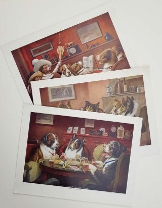 The Reunion. / Post Mortem / Sitting Up With a Sick Friend. VINTAGE POKER DOGS PRINTS - 1950s -...