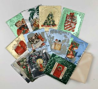 16 Starlettes for Christmas Remembrances. [SHINY VINTAGE1950s UNUSEDCHRISTMAS CARDS IN ORIGINAL BOX].