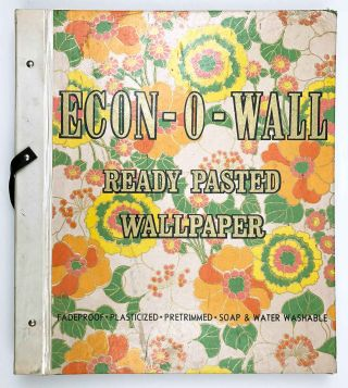 Econ-O-Wall Ready Pasted Wallpaper. 8th Edition. WALLPAPER - '60s HUGE SHOP DISPLAY SAMPLE BOOK