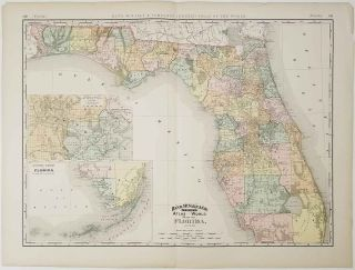 Rand, McNally & Co.'s New Business Atlas Map of Florida. FLORIDA - RAILWAYS