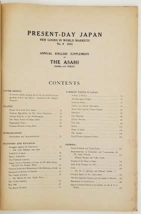 Present-Day Japan. Her Goods In World Markets. No. 9 - 1933. Annual English Supplement of the Asahi. Osaka and Tokyo.