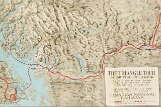 The Triangle Tour of British Columbia. Jasper National Park. Mount Robson Park. Canadian Rockies and The Scenic Seas of the North Pacific Coast. (Pamphlet title: Map of Alaska and the Yukon Canadian Rockies and the Triangle Tour of British Columbia)