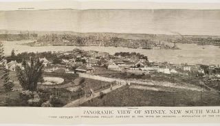 Panoramic View of Sydney, New South Wales. First Settled by Commodore Phillip, January 26, 1788,...