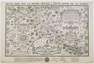 Pratts High Test Plan of Watling Street and Principal Roads from Dover to Holyhead. ENGLAND -...