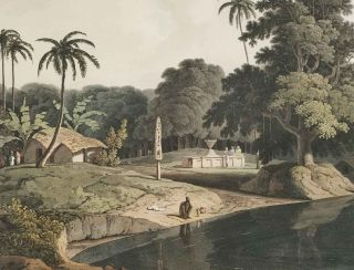 Near Bendell on the River Hoogly. [AQUATINT ENGRAVING]