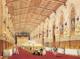 "Throne Room. St. George's Hall. [TWO NASH COLOR LITHOGRAPHS from ""Views of the Interior and Exterior of Windsor Castle.""]"
