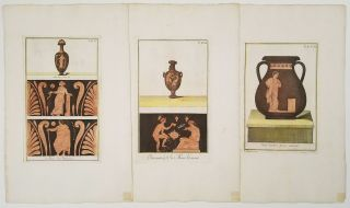 Picturae Etruscorum Vasculis [group of NINE engravings with handcolor]. ETRUSCAN VASES