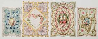 Early 1900s Valentine cards, unused. LOT OF 4 DIE-CUT EMBOSSED CARDS. VALENTINE'S DAY CARDS