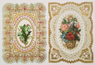 Early 1900s Valentine cards, unused. SET OF 2 DIE-CUT EMBOSSED CARDS. VALENTINE'S DAY CARDS