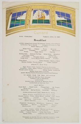 Cunard White Star menus, programs, etc. from World Cruise 1935. LOT OF 16 ITEMS.