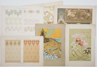 Six color plates from Dekorative Vorbilder. ART NOUVEAU DESIGN CHROMOLITHOGRAPHS