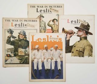 Leslie's Illustrated Weekly Newspaper. SEVEN ISSUES 1911-17. WORLD WAR I. - NORMAN ROCKWELL /...