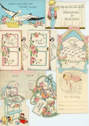 18 Sample Birth Announcement cards from A.M. Davis Company together with Company Letter to...