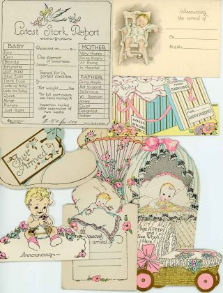 18 Sample Birth Announcement cards from A.M. Davis Company together with Company Letter to Customer.