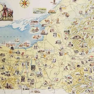 """New York. """"The Empire State"""". A Pictorial Map Featuring Natural Wonders, Scenic Attractions and Historical Sites in the State of New York."""