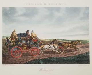 Waking up. / Paris and Dover Coach. TWO VINTAGE REPRODUCTIONS OF ETCHINGS WITH HANDCOLOR.