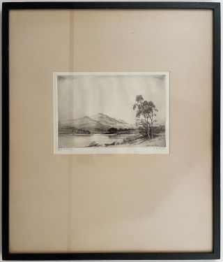Loch Achray. TOGETHER WITH Loch Leven. GROUP OF TWO ORIGINAL FRAMED ETCHINGS.