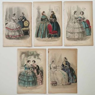 Engravings from Godey's Ladys Book and Les Modes Parisiennes. GROUP OF 17.