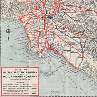 Map Showing Routes in Southern California of the Pacific Pacific Electric Railway and Motor Transit Company with Connecting Lines.